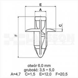 Kołek montażowy nr 1 (spinka) do elementów karesoryjnych motocykla