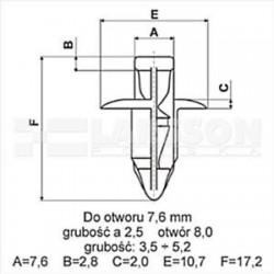 Kołek montażowy nr 2 (spinka) do elementów karesoryjnych motocykla